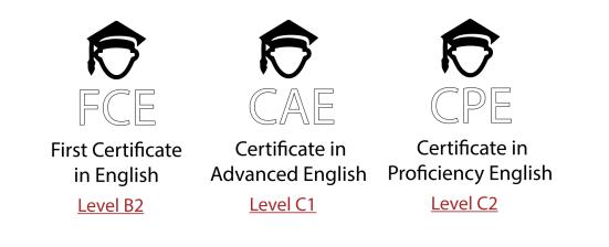 Certificaciones FCE, CAE, CPE de Cambridge